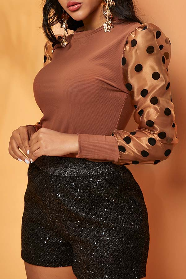 Lovely Chic Dot Brown Blouse