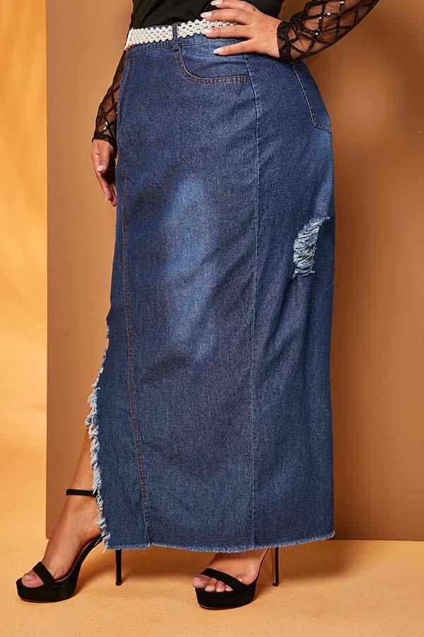 Lovely Trendy Slit Deep Blue Plus Size Skirt