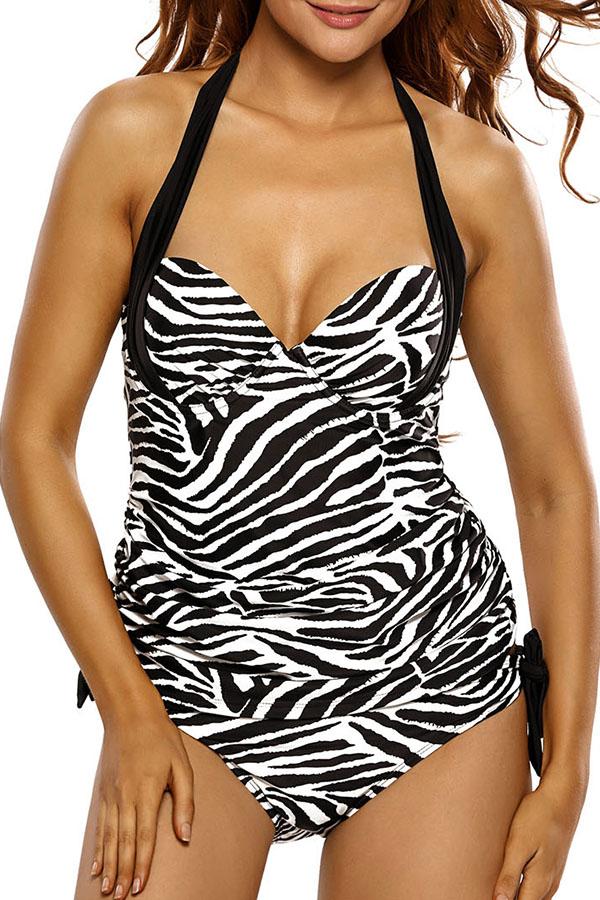 Lovely Deep V Neck Zebra Stripe One-piece Swimsuit