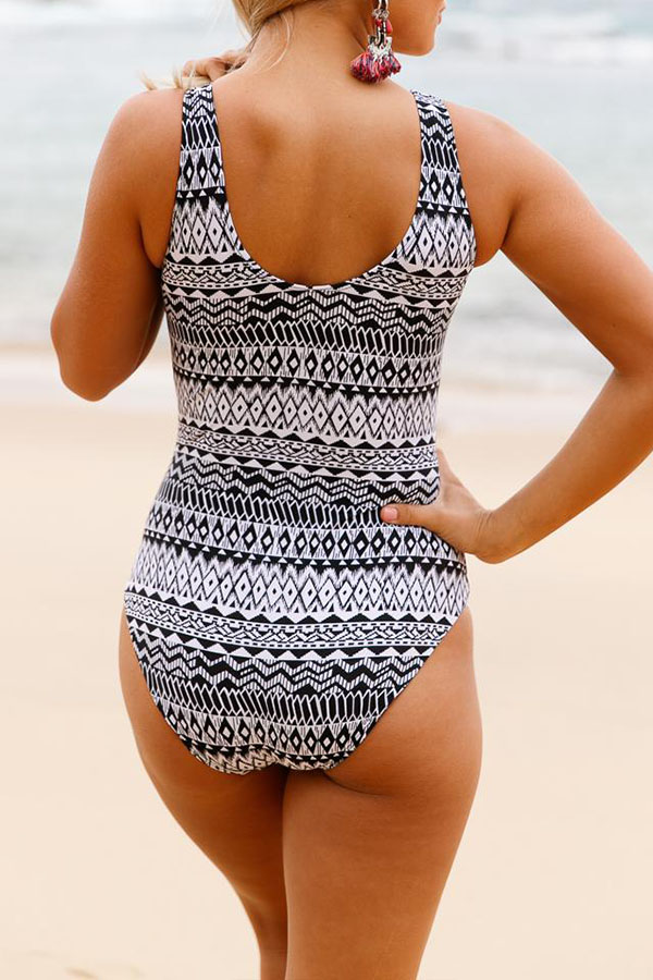 Lovely Print Black One-piece Swimsuit