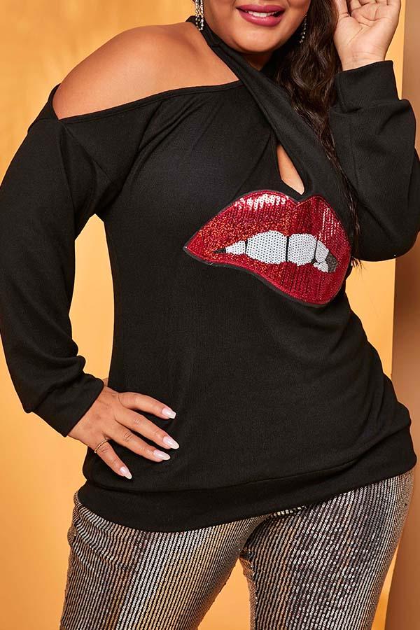 Lovely Casual Lip Print Black Plus Size Blouse