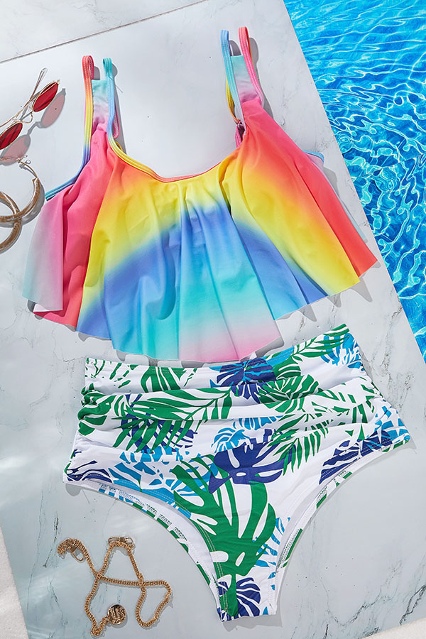 Lovely Print Multicolor Two-piece Swimsuit