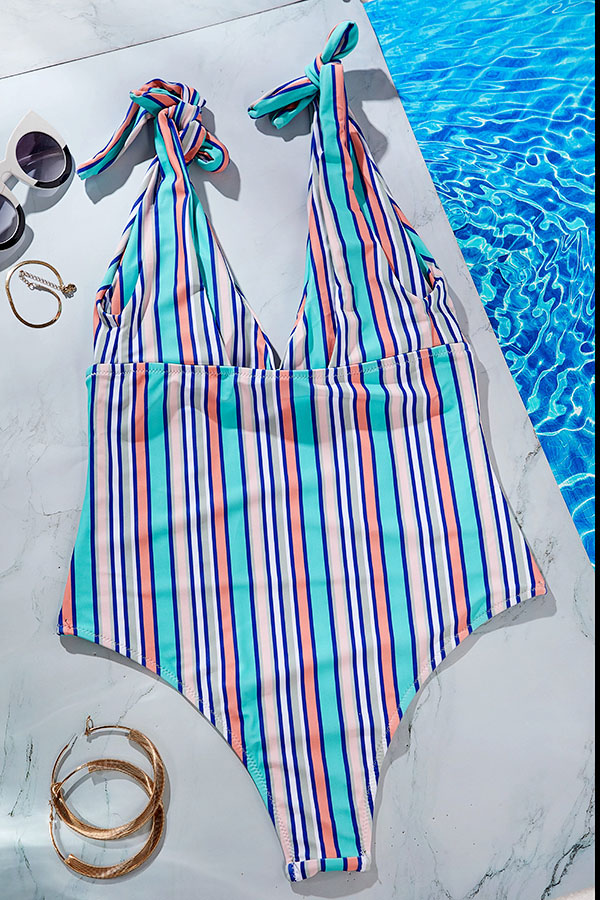 Lovely Striped Blue Yellow One-piece Swimsuit