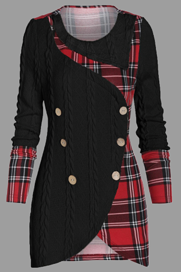 Lovely Casual Patchwork Plaid Black Plus Size Sweater