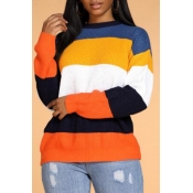 Lovely Casual Striped Patchwork Yellow Sweater