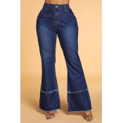 Lovely Casual Loose Dark Blue Jeans