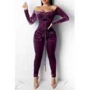 Lovely Stylish Bandage Design Purple One-piece Jumpsuit