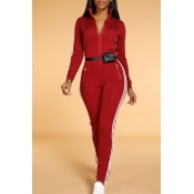 Lovely Trendy Striped Skinny Wine Red One-piece Jumpsuit