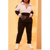 Lovely Casual Patchwork Pink Plus Size Two-piece P