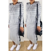 Lovely Casual Striped Grey Ankle Length Dress