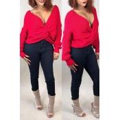 Lovely Casual V Neck Cross-over Design Red Sweater