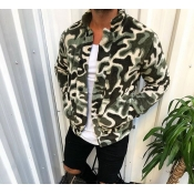 Lovely Casual Camo Black Jacket