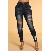 Lovely Chic Hollow-out Black Jeans