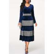 Lovely Leisure V Neck Striped Blue Mid Calf Dress
