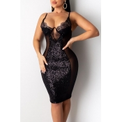 Lovely Party See-through Black Knee Length Dress