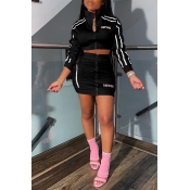 Lovely Casual Letter Zipper Design Black Two-piece Skirt Set