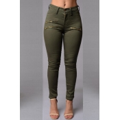Lovely Casual Zipper Design Army Green Pants