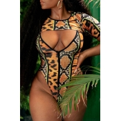 Lovely Leopard High-Leg Plus Size Bikini Top(Top O