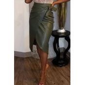 Lovely Casual Asymmetrical Blackish Green PU Knee