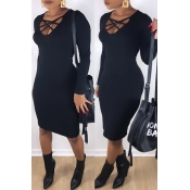 Lovely Trendy U Neck Hollow-out Black Knee Length