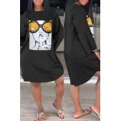 Lovely Casual O Neck Print Black Knee Length Dress