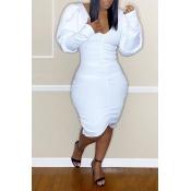 Lovely Sweet V Neck White Knee Length Dress