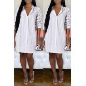 Lovely Casual Striped White Knee Length Dress