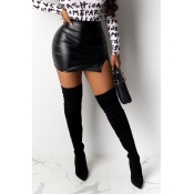 Lovely Casual Skinny Black PU Skirt