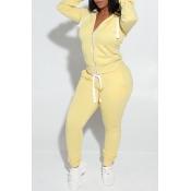 Lovely Casual Hooded Collar Zipper Design Yellow T
