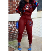 Lovely Casual Lip Print Purplish Red Two-piece Pants Set
