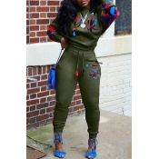 Lovely Casual Lip Print Army Green Two-piece Pants