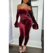 Lovely Party Dew Shoulder Wine Red Two-piece Pants