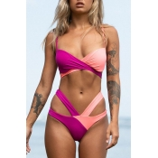 Lovely Bohemian V Neck Hollow-out Rose Red Two-piece Swimsuit
