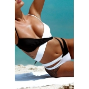 Lovely Bohemian V Neck Hollow-out Black Two-piece Swimsuit