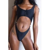 Lovely Hollow-out Black One-piece Swimsuit