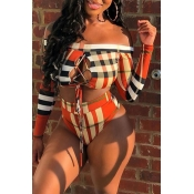 Lovely Plaid Print Multicolor Two-piece Swimwear