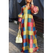 Lovely Sweet Plaid Multicolor Maxi Dress