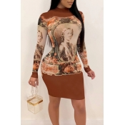 Lovely Casual Patchwork Brown Mini Dress