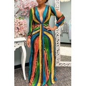 Lovely Chic V Neck Striped Multicolor Maxi Dress