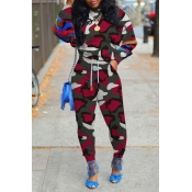 Lovely Casual O Neck Print Wine Red Two-piece Pant