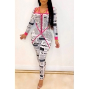 Lovely Chic Letter Print Rose Red One-piece Jumpsuit