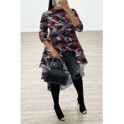 Lovely Casual Asymmetrical Camo Red Blouse