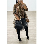 Lovely Casual Asymmetrical Leopard Loose Blouse