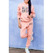 Lovely Leisure Letter Pink Two-piece Pants Set