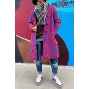 Lovely Trendy Print Purple Coat