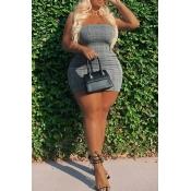 Lovely Casual Skinny Grey Plus Size Mini Dress