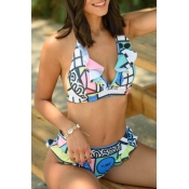 Lovely Bohemian V Neck Flounce Design Multicolor Two-piece Swimsuit