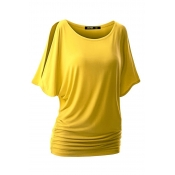 Lovely Casual Basic Yellow Plus Size T-shirt