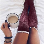 Lovely Chic Patchwork Lace Wine Red Socks