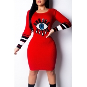 Lovely Chic Eye Red Knee Length Dress
